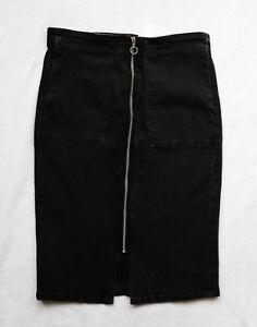 BNWT-NEXT-black-denim-knee-pencil-skirt-front-Zip-split-pockets-stretchy-sexy