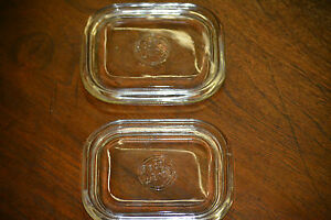 Nice Two Beco Ware Glass Refrigerator Lids For Enamel Tins 1950's Retro Kitchen V2 Fast Color Periods & Styles