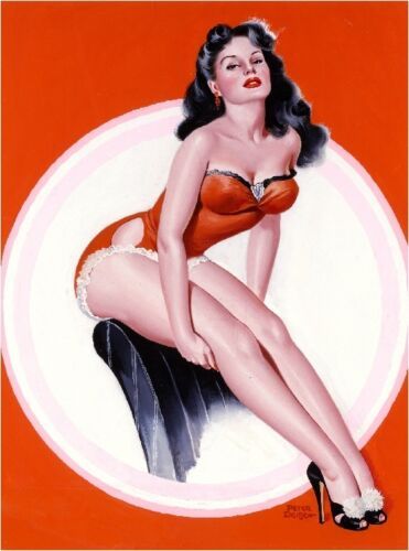 1940s Pin-Up Girl In the Red Bathing Suit Picture Poster Print Art