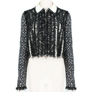 Giambattista Valli Luxurious Black Tweed Jacket IT42 UK10