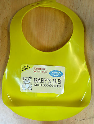 Beautiful Beginnings Plastic Bib Hygenic Wipe Food Catcher Clean Baby Yellow