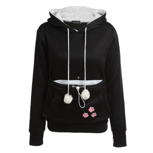 Women/'s Kangaroo Pouch Pet Dog Cat Holder Carrier Coat Large Pocket Hoodie Tops