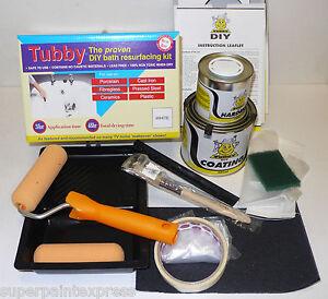 Tubby white enamel bath repair paint kit for re surfacing for Bath enamel paint