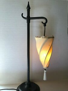 Vintage-Heavy-Chinese-Ivory-Silk-Shade-Hanging-Lantern-Table-Lamp-Asian-Style