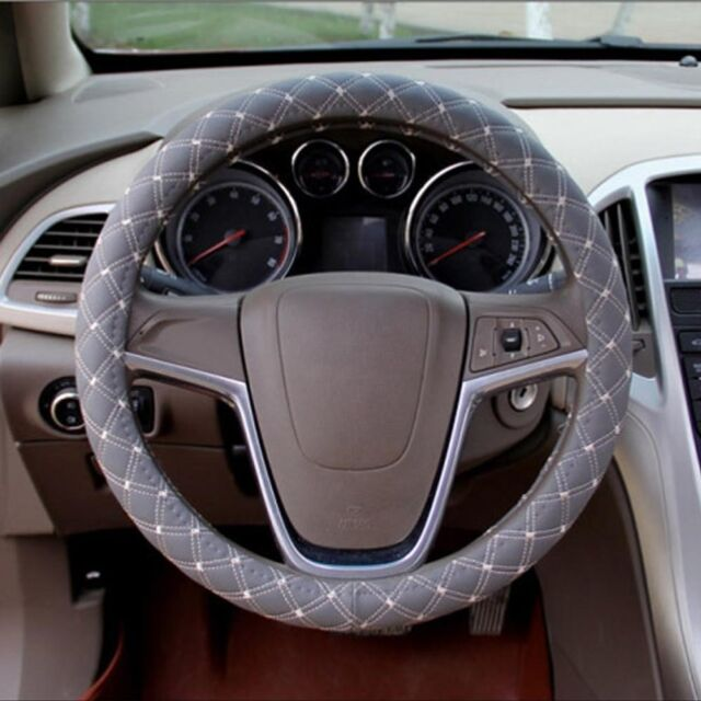 New PU Leather Sport Car Steering Wheel Cover With Size M 38cm gray U