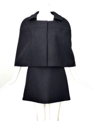 PRADA-Black Wool Cape Suit, Size-8