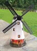 NEW SOLAR POWERED LED MOTION LIGHT TRADITIONAL WINDMILL GARDEN ORNAMENT FREE P&P