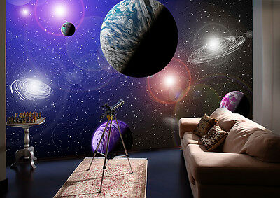 ALIEN PLANETS SOLAR SYSTEM SPACE BLUE PURPLE Photo Wallpaper Wall Mural  335x236