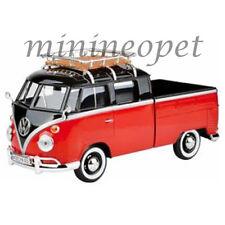 MOTORMAX 79552 VW VOLKSWAGEN TYPE 2 T1 DOUBLE CAB PICK UP TRUCK 1/24 RED BLACK
