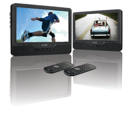 "1 of 1 - LOGIK Portable DVD Player Dual Screen Two x 9"" Screens LCD USB Black L9DUALM13"