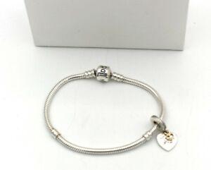Details about PANDORA Bracelet 925 Silver With Love You Forever, Charm  Pendant 14k Bicolor (C)