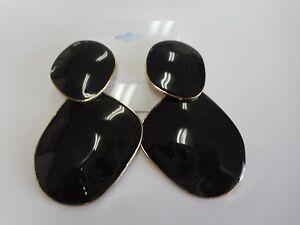 Global-Chic-By-Iman-Designer-Joy-Iman-Enamel-Black-Drop-Earrings-NEW-HSN