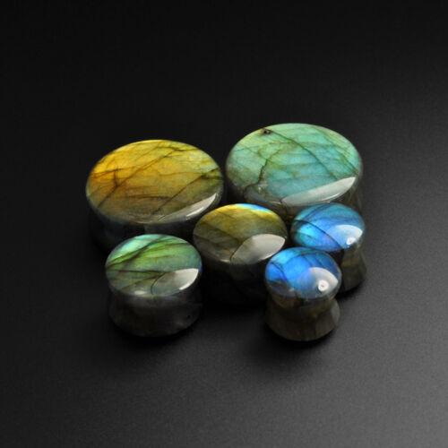 Labradorite Convex Stone PlugsGrade A Stunning FlashStretcher 8mm-30mm
