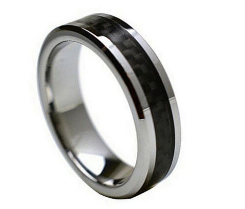 6mm Men /& Ladies Tungsten Carbide Black Carbon Fiber Inlay Wedding Band Ring