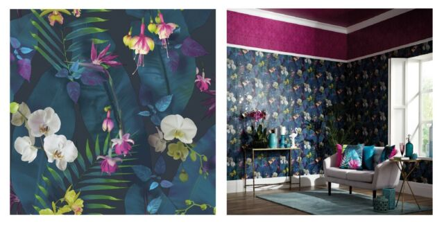 Arthouse Pindorama Leaves Navy Blue Purple Pink Wallpaper, 690101
