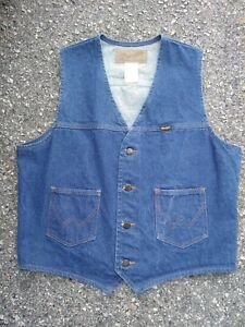 Vintage-WRANGLER-Men-039-s-Denim-Blue-Jeans-Western-Cowboy-Vest-Jacket-LARGE-Cotton