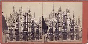 Cattedrale Da Milan Italia Stereo Vintage Albumina Ca 1875