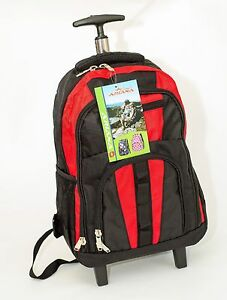 Small-Wheeled-Rucksack-Backpack-Trolley-Smart-Cabin-Bag-Hand-Luggage-Black-Red