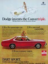 1973 Dodge Dart Sport Convertriple Original Print Ad 85 X 11
