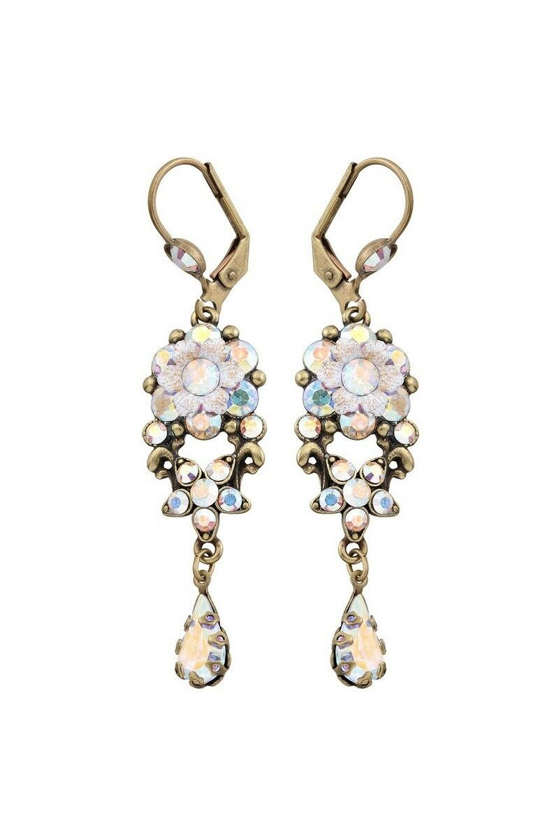 Michal Negrin Swarovski Crystals Flower Earrings 15201 White Brass Dangle