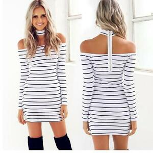 Sexy-Women-Striped-Halter-Off-Shoulder-Party-Dress-Casual-Mini-Summer-Shirtdress