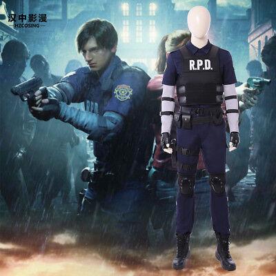Resident Evil 2 Remake Biohazard Re:2 Leon Scott Cosplay Costume+Boots Customize