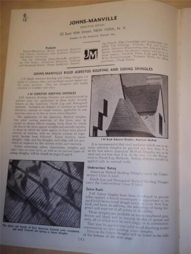 Vtg Johns-Manville Catalog Insert/Pages~Asbestos Roofing/Siding Shingles~1939
