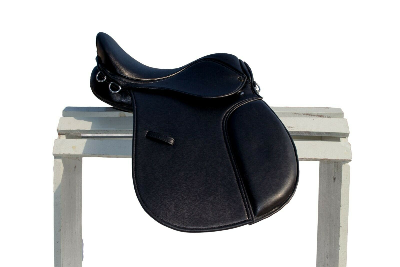 Cuero sintético de medio tiempo de propósito general caballo silla 16,17,18 Wide Fit