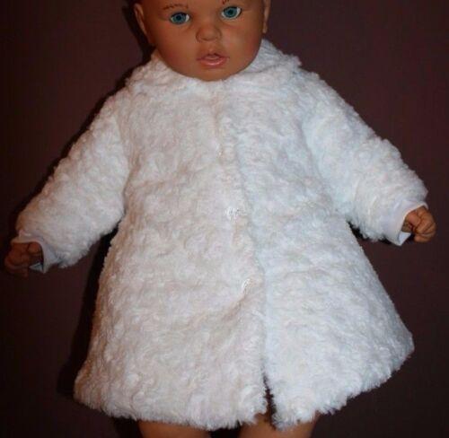 Bébé filles smart blanc souple baptême baptême manteau formel 0 3 6 12 m