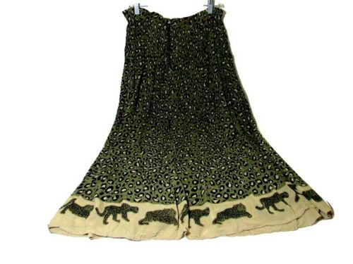 Raja Vtg Boho Festival Gauze Skirt Leopard Animal