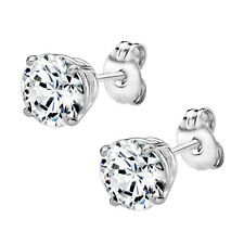 Sterling Silver 925 4.00 cttw Round Stud Earrings Made with Swarovski Zirconia