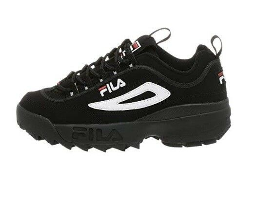 NEW MEN FILA DISRUPTOR II schwarz Weiß rot LEATHER SYNTHETIC 01653-018 FREE SHIP