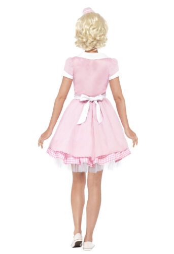 50s Diner Girl Costume Ladies 1950s 50/'s Rock n Roll Grease Waitress Fancy Dress