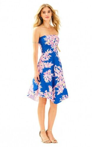 Lilly Pulitzer Loleta Brilliant Blue Its Eelectric Strapless Jersey Dress XL