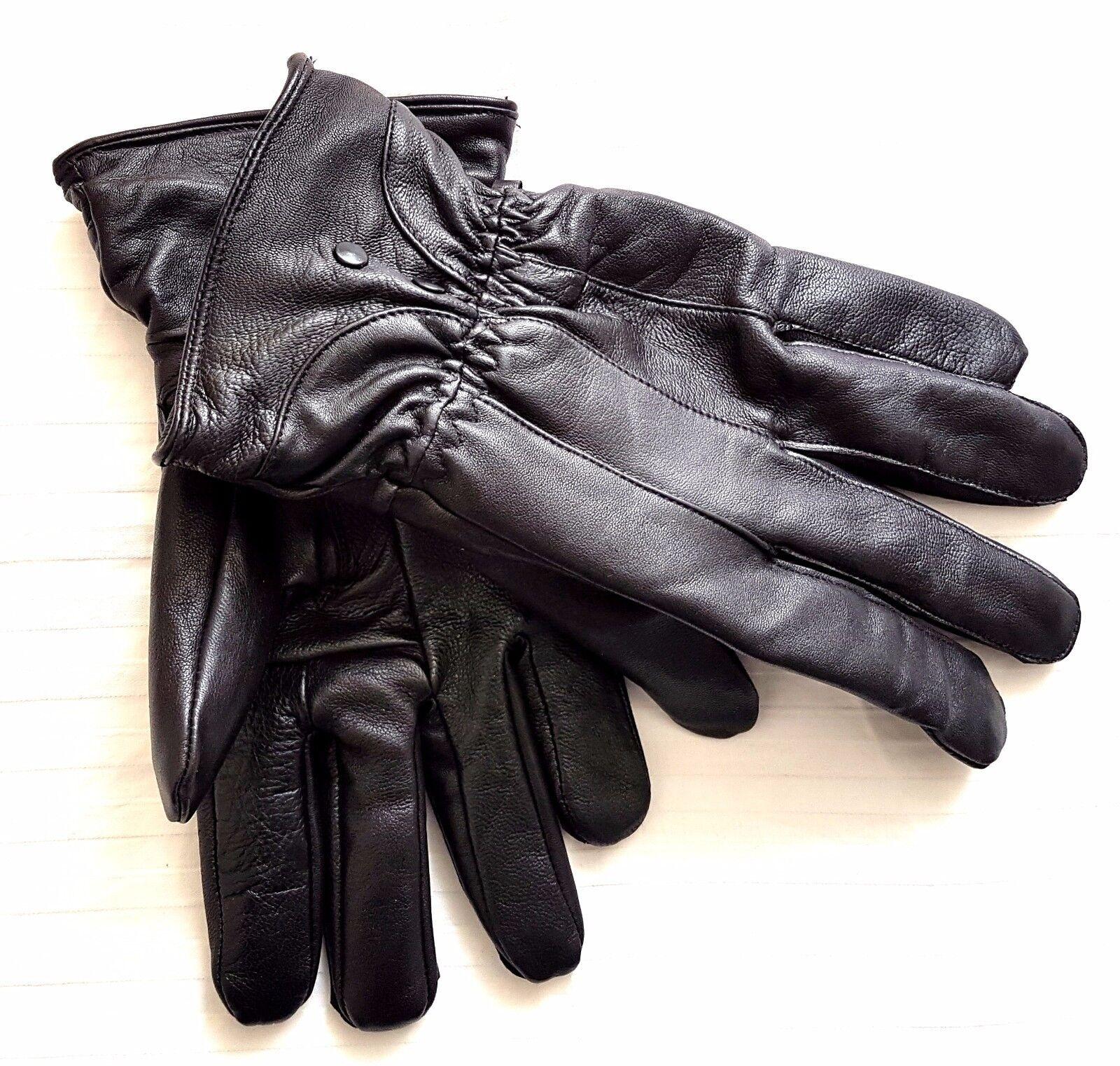 Black 100% Genuine Leather Gloves for Men's Winter Gloves