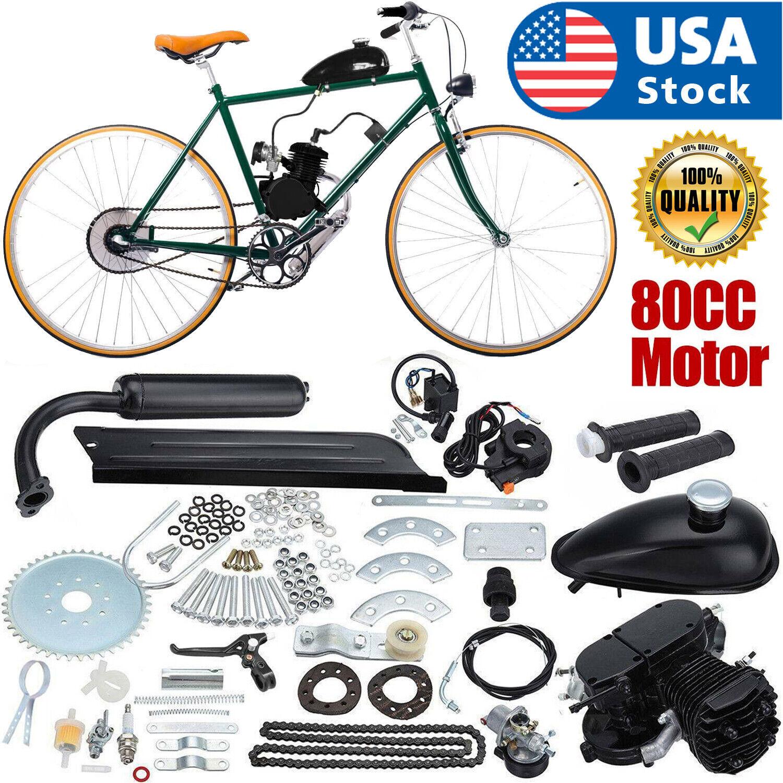 Uk 2 Stroke 80cc Gas Bike Engine Motor Kit Diy Motorized Bicycle Chrome Pipe Bk For Sale Ebay