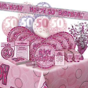 Image Is Loading AGE 50 50TH BIRTHDAY PINK GLITZ PARTY RANGE