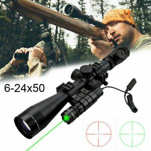 Leuchtpunktvisier-Zielfernrohr-6-24x50mm-mit-Rot-Gruen-fuer-Luftgewehr-Armbrust