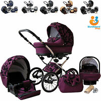Retro Baby Pram 3in1 Car Seat Buggy Stroller Pushchair Travel System Freebies