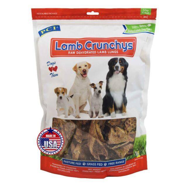 PCI Lamb Crunchys USA Made Dried Lamb Lung Dog Puppy Treats Chews - 8 oz