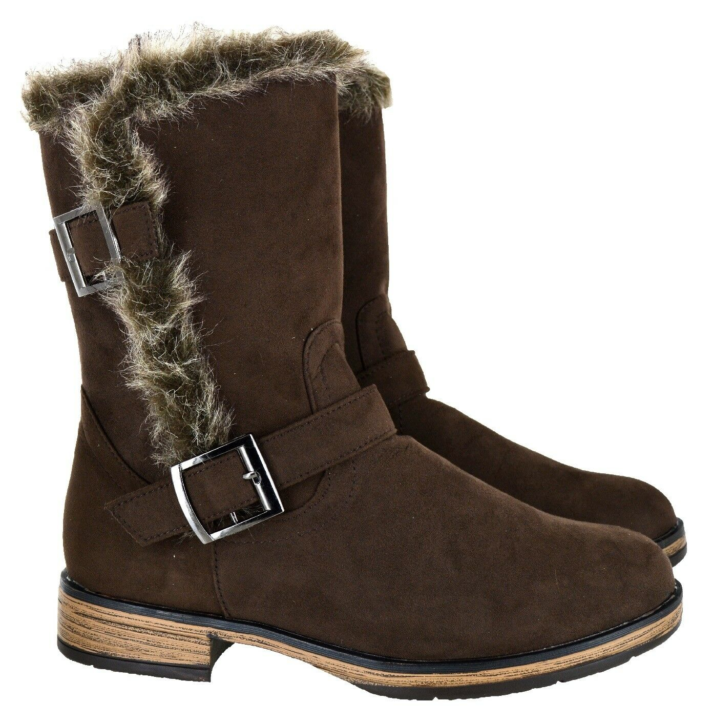 LADIES WINTER WARM FURRY WARM WINTER COMFY zapatos Mujer LATEST ANKLE BUCKLE ZIP botas SZ 3-9 a9c524