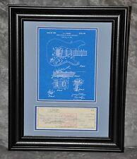 Leo Fender Signed 1967 Check w/Stub Matted & Framed w/ Blue Strat Patent Copy