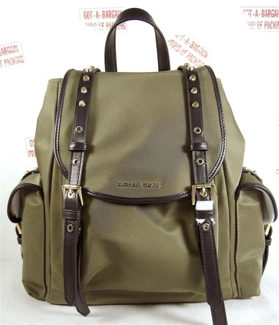 Details about Michael Kors Leila Medium Flap Cargo Nylon Backpack in Olive