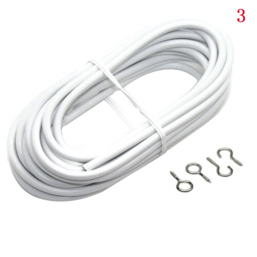 Net Curtain Wire White Window Cord Cable 2-4 meter With 4 FREE HOOKS /& EYE
