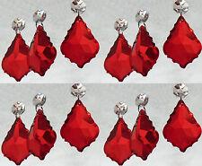 12 Lampadario Cut Glass crystals Gocce Perle Foglia Antico Gocce Rosso Matrimonio