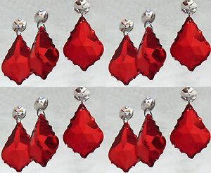 12-CANDELABRO-CRISTAL-TALLADO-Gotas-Cuentas-Hoja-Antiguo-Rojo-Boda-elementos