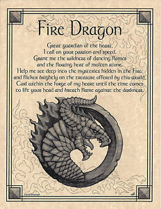 Details about Elemental FIRE DRAGON Invocation Page Poster Guidandce Wicca  Pagan 8 1/2 x 11