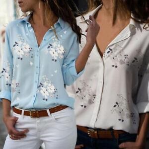 Women-Long-Sleeve-V-neck-Shirt-Top-Blouse-Fashion-Casual-Plus-Size-Flower-Print