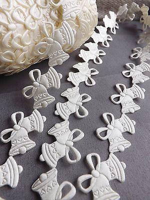 Ivory VINTAGE satin Bells lace trim ribbon BRIDAL CRAFTS card Classic - per Yard