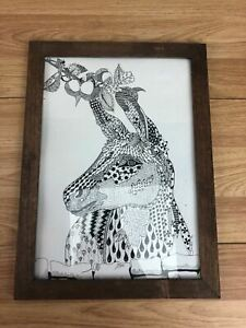 """Donkey Doodle Pen Drawing Monochrome Framed Signed And Dated 2016 9"""" x 13"""""""